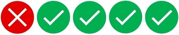 Rating: vier grüne Haken, dh. weitgehend zutreffend.