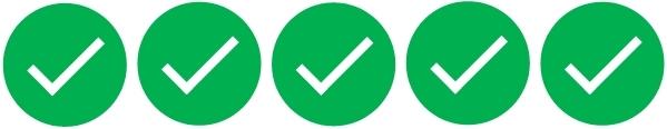 Rating: Fünf grüne Haken, dh. voll zutreffend.